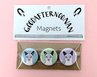 Siamese cat magnet pack, cat gift set, siamese pins, pinback buttons, fun cat stocking stuffer