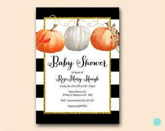 Pumpkin Baby Shower Invitation, Fall Bridal Shower Invitation, Little Pumpkins Baby Shower Invitation, Twins Baby Shower Invite BS463 TLC463