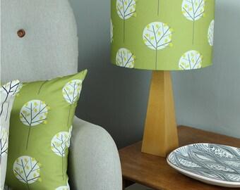 Olive Green Tree Print Lampshade Scandi Drum Lighting Lightshade