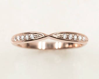 Diamond Wedding Band. 14k Solid Rose Gold & High Natural Diamond Ring.Diamond Matching Band.Art Deco Ring .Promise Dainty Ring.Wedding Band.