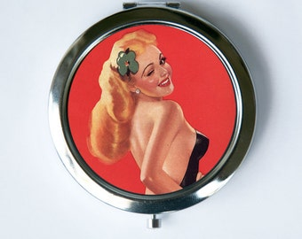 Pin up pinup Winking topless Compact MIRROR Pocket Mirror retro rockabilly
