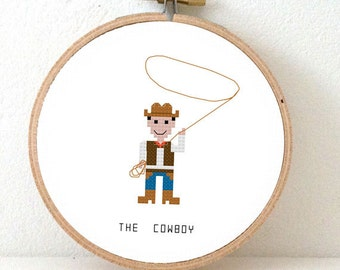 Cowboy cross stitch pattern. DIY Boysroom decoration. Cowboy patry decoration. Country Western embroidery pattern. Job series pattern.