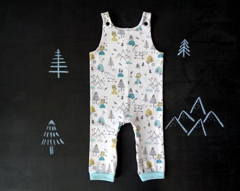 Baby overalls, toddler dungarees, white aqua mustard newborn romper, mountain bear owl fox winter baby shower, gender neutral mom to be gift