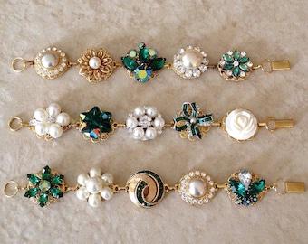 Emerald green gold pearl vintage wedding bracelets, bridesmaids gifts, bridesmaid jewelry, vintage earring bracelets