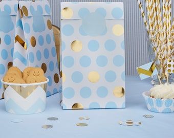Blue and gold party bags - Baby shower favour bags - Birthday party favours - Treat bags - Blue and gold dots - Party decorations -Pack of 5