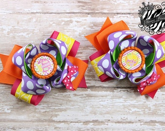 Pigtail Hair Bows - Hair Bow Sets - Lime Orange Pink Purple Yellow Hair Bows - Toddler Hair Bows - Girls Hair Bows - 4 Inch Hair Bows