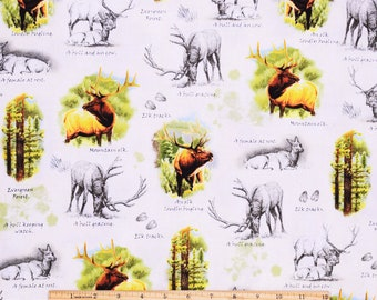 Elk Fabric Mountain Elk in White From Quilting Treasures 100% Cotton