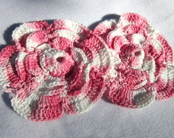 Cotton Dish Cloths or Wash Cloths, Two FlowerTrivets, Pink and White Table Doilies ~Gift for Mom ~Present for Grandma ~Baby Washcloths