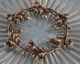 LuxeOrnaments Antique Silver Filigree Leaf Floral Wreath Focal (Qty 1) 51x45mm F-2830-5-S