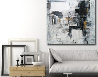 Large abstract painting black, white, gold textured with a spatula made to order