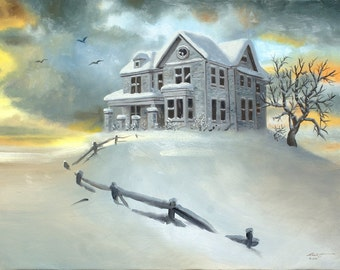 House snow winter landscape 30x40 (76.2 x 101.6 cm) oils on canvas painting by RUSTY RUST / M-408