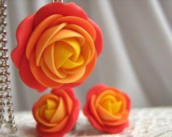 Polymer clay jewelry set - Red yellow rose flower pendant with stainless steel ball chain and stud earrings