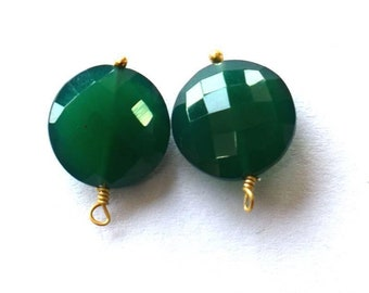 A pair of green chalcedony pendant on gold wire