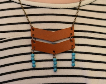 Leather Chevron Necklace with Beads
