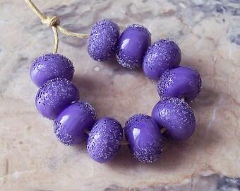Hoarfrost. Purple Handmade Lampwork Glass Beads  (5 pcs). Sugared Violet Lampwork Beads, 12-13 mm x 8-9 mm. Winter Lampwork Beads.