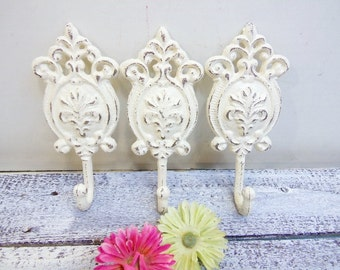 Three Shabby Hand Painted Metal Cast Iron Wall Hook / White Home Decor / Metal Hook / French Country Decor / Ornate / Cottage Chic