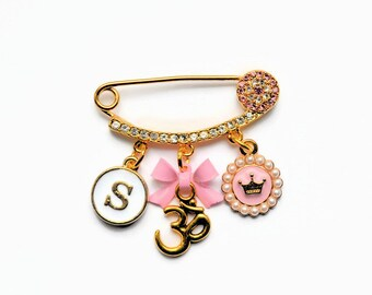 Evil Eye Diamante Personalised Om Hindu Mini Brooch Pin by Just For Bubba