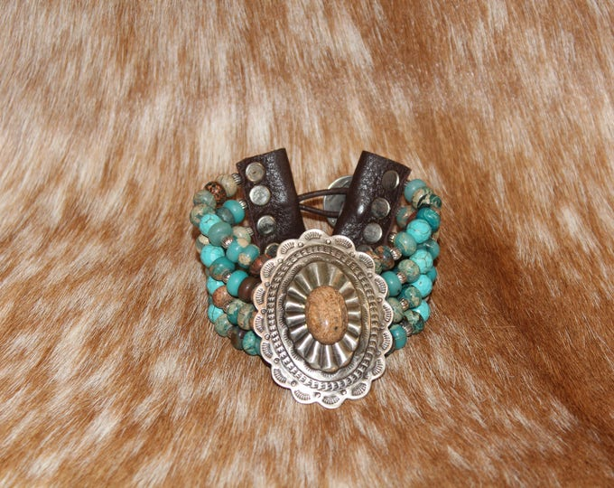 Silver Concho with Picture Jasper Stone four strand bracelet