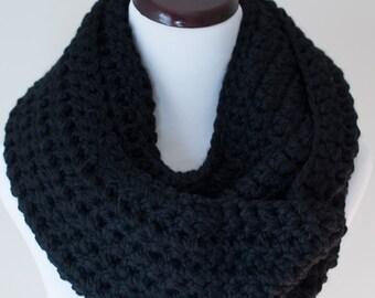 Infinity Scarf // Black Chunky Infinity Scarf // Handmade Knitwear // Women's Infinity Scarf // Winter Accessories // Crochet Scarf