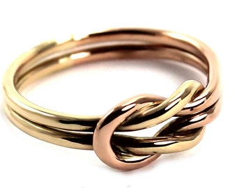 Solid gold Chunky double reef knot ring, double knot ring in 10k yellow and rose gold, friendship ring, sailor ring, silver ring,
