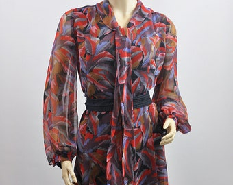Vintage Jean Varon Hand Printed Shift Midi Dress