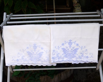 Vintage Blue and White Pillowcases Pair