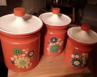 Retro/Vintage/MCM Kitchen 3 piece  Cannister set Orange Daisy Flowers