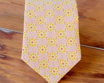 Boys Necktie - childs pink, gold star cotton neck tie - baby infant toddler child preteen boy necktie - little boys necktie - boys necktie