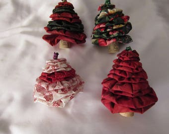 Four adorable hand made Christmas trees with wine corks as base (2) and rubber wine corks as base  (2)