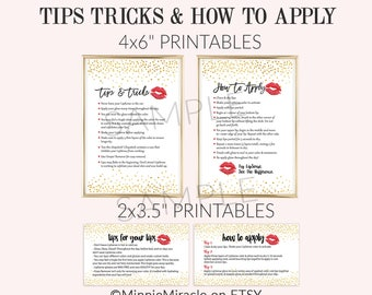 Lipsense Tips and Tricks, LipSense How To Apply, Application Instructions, Senegence, Gold Confetti, Red lips, 3.5x2 and 4x6 sizes DIGITAL