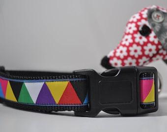 Dog Collar - Harlequin Brights -  50% Profits to Dog Rescue