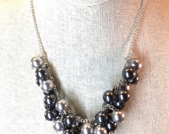 Dark and Light Gray Pearl Bib Necklace