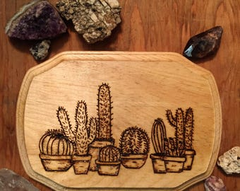 Handmade wood burned art, cactus, cacti pyrography art/ wall art