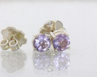 Light Purple Amethyst Rounds Handmade Sterling Silver Studs Ladies Post Earrings