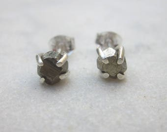 Rough pyrite stud earrings, sterling silver raw stone posts, organic fool's gold claw studs, dainty pyrite earrings, minimal stone studs