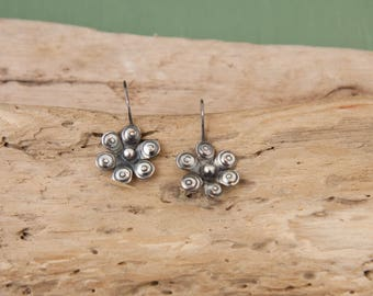 Flower Earrings, Sterling Silver Earrings