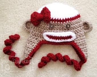 Little Lady Sock Monkey Hat - Toddler