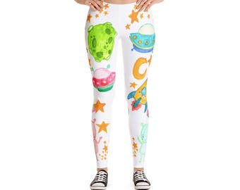 Space Leggings - Alien Leggings - Star Leggings - Alien Print Leggings