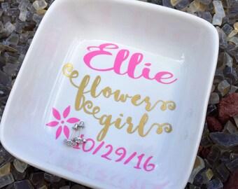 Personalized Flower Girl Gift, Flower girl jewelry, Personalized Ring Dish, Jewelry Dish for Girls, Flower Girl Bracelet