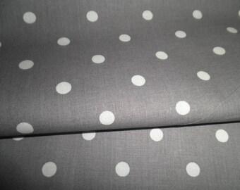DMC gray fabric has white polka dot (sold by 10 cm)