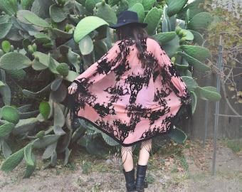 French Baroque Velvet Burnout Fringe Kimono
