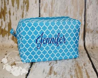 Monogrammed Aqua Quatrefoil Cosmetic Bag, Makeup Case - Bridesmaid, Wedding, Graduation, Birthday Gift