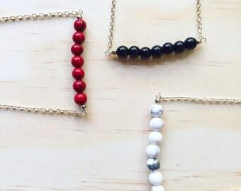 Eleanor Silver   Gemstone Bar Necklace