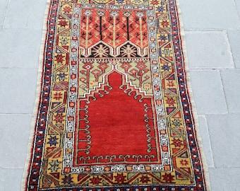 "Vintage Turkish Rug Oriental Hand Knotted Rug Area Rug Handmade Wool Rug Old Anatolian Carpet Rustic Rug 3'1"" x 4'9"" Feet Free Shipping !"