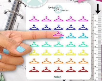 Clear Hanger Stickers Clothes Stickers Planner Stickers Erin Condren Functional Stickers Daily Chore Stickers Live Planner NR802