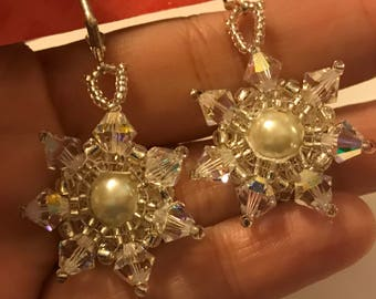 Gorgeous Swarovski Crystal and Pearl Dangle Earrings