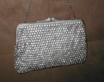 Antique Vintage Solid prong-set Rhinestone Silver Evening Purse