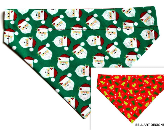 DOG BANDANA ~ Christmas, Santa, Trees ~ Over the Collar ~ Reversible ~ Bell Art Designs - Extra Large DCXL0209