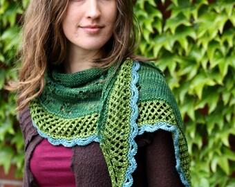 "Shawl ""In Bloom"" knitting pattern PDF instant download, knitting tutorial shawl"