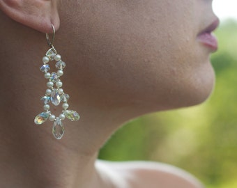 Hand woven pearl and crystal earrings